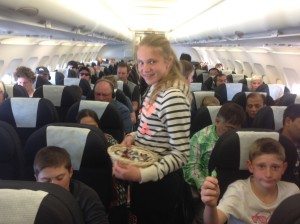 Student on the plane
